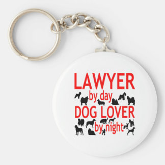Lawyer by Day Dog Lover by Night in Red Basic Round Button Key Ring