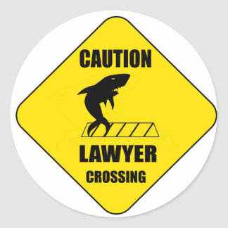 Lawyer Crossing with Shark Classic Round Sticker