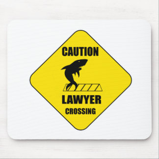 Lawyer Crossing with Shark Mouse Pad