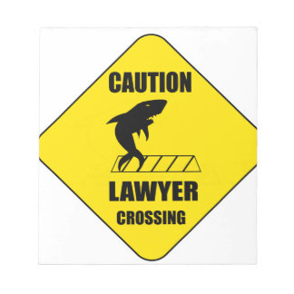 Lawyer Crossing with Shark Notepad