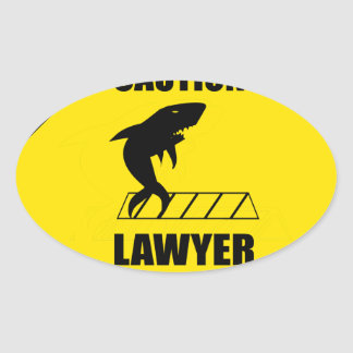 Lawyer Crossing with Shark Oval Sticker