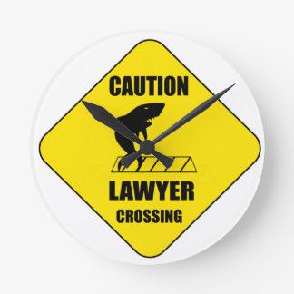 Lawyer Crossing with Shark Round Clock