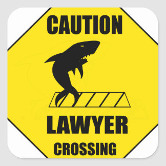 Lawyer Crossing with Shark Square Sticker