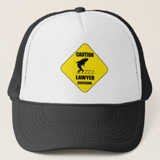 Lawyer Crossing with Shark Trucker Hat