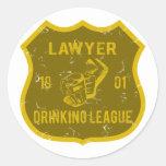 Lawyer Drinking League Round Sticker