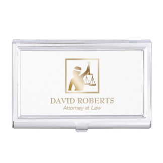 Lawyer Gold Lady Justice Logo Attorney at Law Business Card Holder