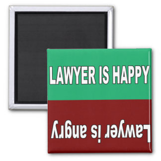 Lawyer is happy and angry magnet