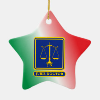 Lawyer JD Scales Shield Christmas Ornaments