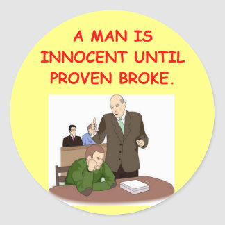 lawyer joke gifts and t-shirts round stickers