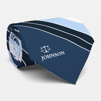 Lawyer Justice of Scale Navy Blue White Stripes Tie