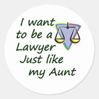 Lawyer like my aunt round sticker