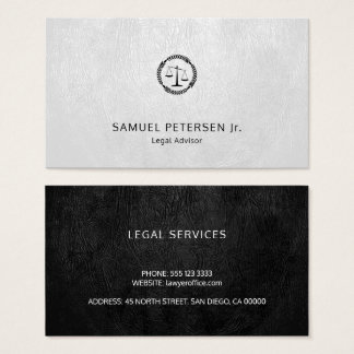 Lawyer luxury black scale white leather look business card