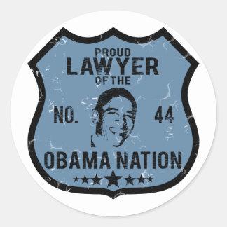 Lawyer Obama Nation Round Sticker