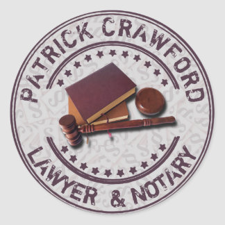 Lawyer Or Notary Office With Judge Hammer And Name Round Sticker