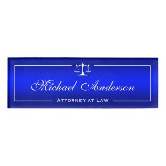 Lawyer Plain Blue Gradient Justice of Scale Logo Name Tag