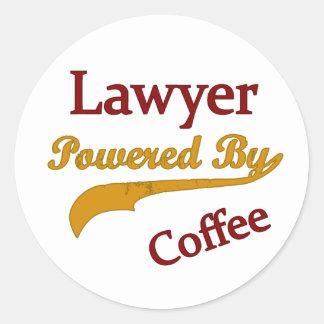 Lawyer Powered  By Coffee Round Sticker