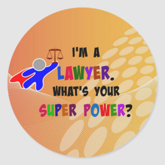 Lawyer Superhero, colorful design Classic Round Sticker