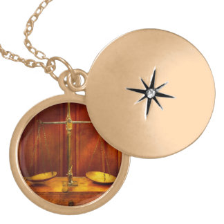 Lawyer - Unbalanced scale of justice Gold Plated Necklace