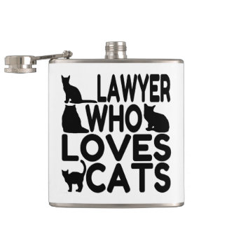Lawyer Who Loves Cats Hip Flask