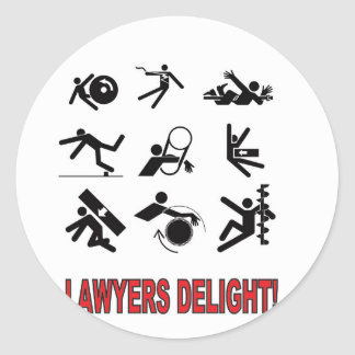 lawyers delight round sticker
