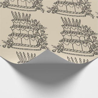 Layer Cake Line Art Design Wrapping Paper