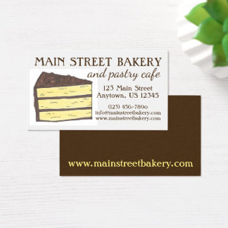 Layer Cake Slice Bakery Baker Pastry Chef Cafe Business Card