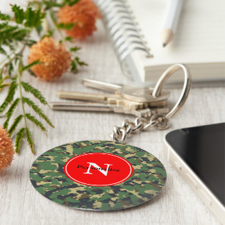 Layer green Camouflage Basic Round Button Key Ring
