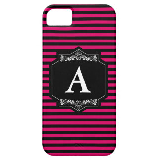 Layer iPhone IF + iPhone 5 Pink Stripes Monogram iPhone 5 Cases