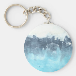 Layered Blues Abstract Painting Basic Round Button Keychain