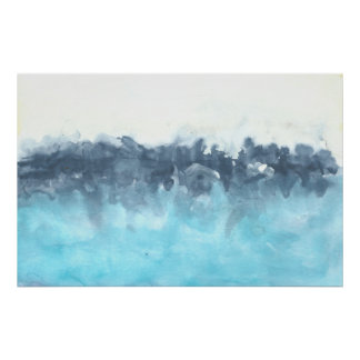 Layered Blues Abstract Painting Poster