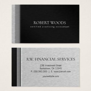 Cpa business cards business card printing zazzle layered brush steel metal black cpa accountant business card reheart Images