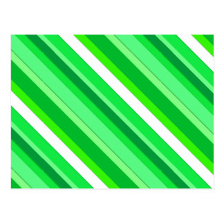 Layered candy stripes - emerald green and white postcard