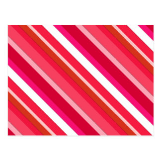 Layered candy stripes - red, pink and white post card