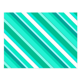 Layered candy stripes - turquoise and white post card