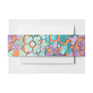 Layered Look Watercolor Design Invitation Belly Band