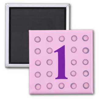 Layered Pink and Purple Polka Dots Age 1 Magnets
