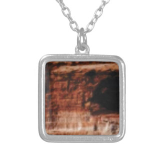 layered red rock cliffs silver plated necklace