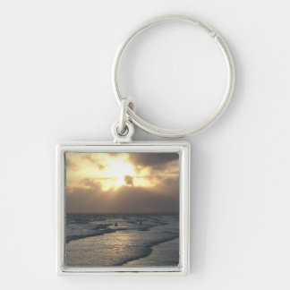 Layers of Tranquility Silver-Colored Square Key Ring