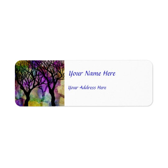 Layers of Trees on Mica Background Return Address Label