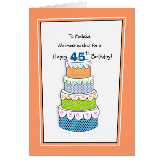 Layers of Wishes 45th or Any Age Birthday Greeting Card
