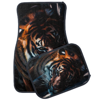 Laying Tiger Automobile Mats Rear Or Front Or Set