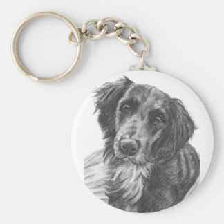 Layla the Border Collie Mix Charcoal Sketch Key Ring