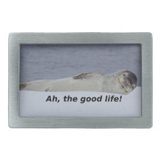 """Lazy Beach Bum Seal: """"Ah, the good life!"""" Belt Buckle"""