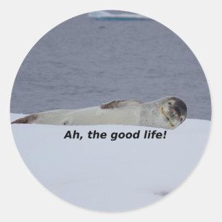 "Lazy Beach Bum Seal: ""Ah, the good life!"" Classic Round Sticker"