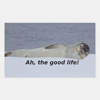 "Lazy Beach Bum Seal: ""Ah, the good life!"" Rectangular Sticker"