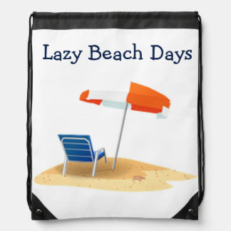 Lazy Beach Days Beach Scene Drawstring Bag
