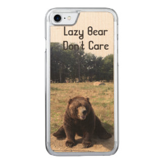 Lazy Bear Don't Care Carved iPhone 7 Case