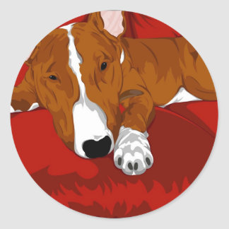 Lazy English Bull Terrier Dog Breed Illustration Round Sticker
