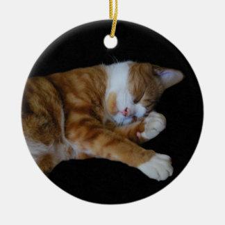 Lazy Ginger cat Round Ceramic Decoration