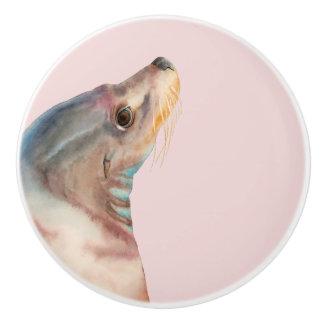 Lazy Glance | Sea Lion Watercolor Illustration Ceramic Knob
